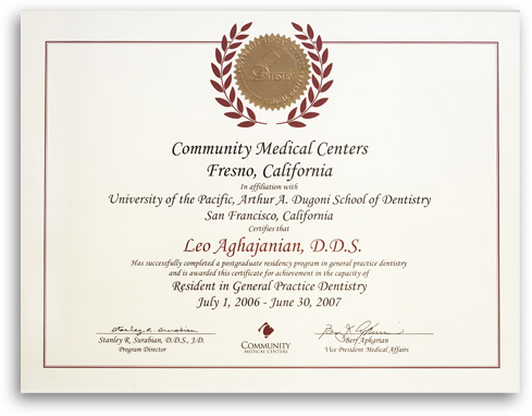 Community Medical Centers diploma of Precision