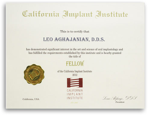 California Implant Institute diploma of Precision